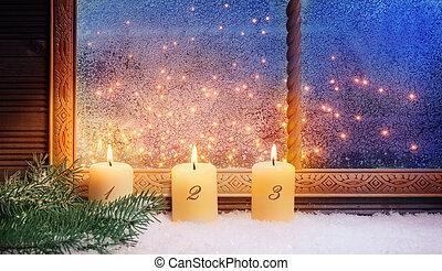 fenster, advent, dekorationen, 3.