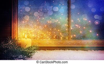 fenster, advent, dekorationen, zuerst