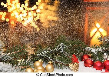 fenster, dekorationen, an, weihnachten
