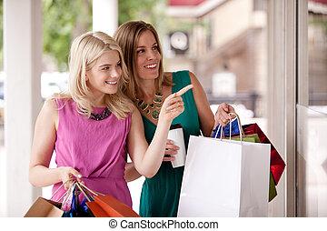fenster- einkaufen, frauen