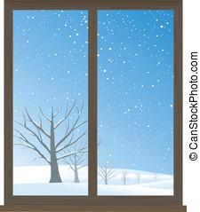 Fenster winter schnee r ckseitiger lit fenster vektor for Fenster 800x800