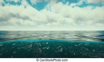 fente, antilles, eau, sur, nuages, vue mer, sous