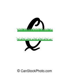 fente, q, lettre, initiale, herbe, monogram, isolé, vecteur