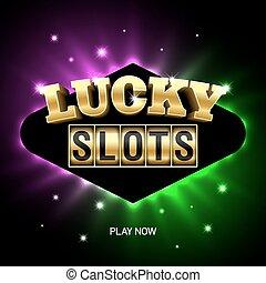 fentes, casino, bannière, chanceux