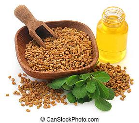 Fenugreek seeds with oil in bottle