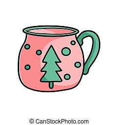 fenyő, csinos, kávéscsésze, fa, csípős, karácsony, piros