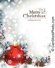 fenyő, díszítés, elágazik, hó, karácsony