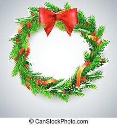 fenyő, elágazik, arany-, koszorú, íj, piros berries, karácsony, szalag