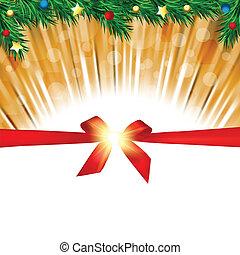 fenyő, elágazik, hely, köszönés, íj, háttér, másol, karácsonyi üdvözlőlap