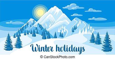 fenyő, hegyek, tél, havas, erdő, táj