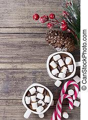 fenyő, karácsony, élet, bogyók, mályvacukor, cukorkák, -, két, csokoládé, csípős, elágazik, mozdulatlan, csészék