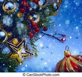 fenyő, művészet, díszítés, hó, háttér, bogyók, karácsony, piros