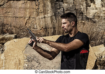 fenyegető, kézifegyver, ember