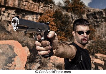 fenyegető, kézifegyver, hegyezés, ember