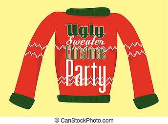 feo, o, navidad, postal, invitation., suéter, fiesta
