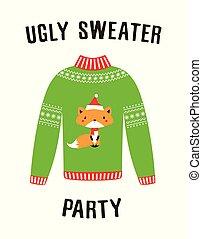 feo, suéter, bandera, fiesta