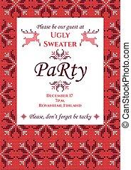 feo, suéter, fiesta