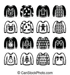 feo, suéter, navidad, puente