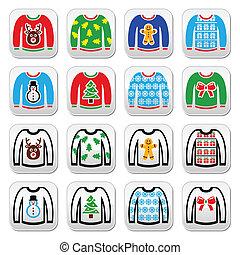 feo, suéter, puente, navidad, bu