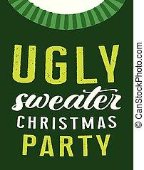 feo, tarjeta, suéter, fiesta