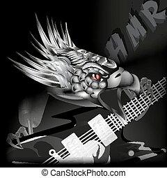 fer, aigle, à, a, guitare, dans, sien, cla
