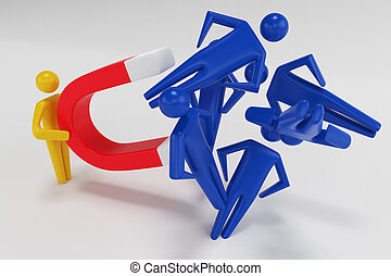 fer cheval, main, humain, magnet., personne, figures, 3d, traction, rendre