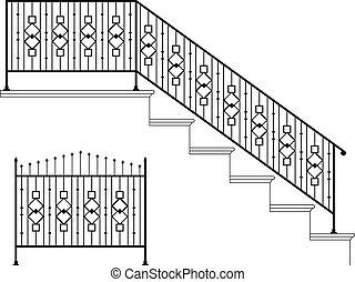 fer, conception, forgé, marche railler