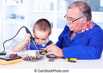 fer, fonctionnement, grand-père, petit-enfant, soudure, enseignement