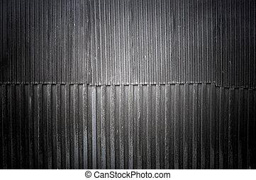 fer ondulé, vieux, mur