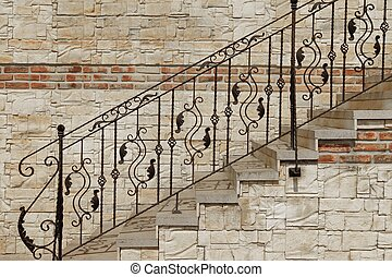 fer, orné, style, pierre, rampe, forgé, moderne, escalier, vendange