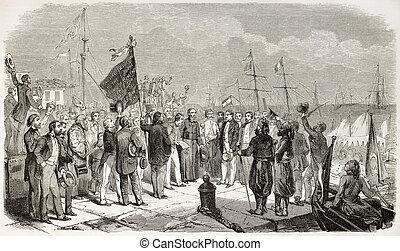De Lesseps - Ferdinand De Lesseps landing in Alexandria, ...