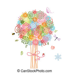 feriado, árvore, buquet, arabesques