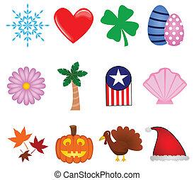 feriado, ícones