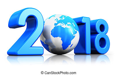 feriado, ano novo, 2018, conceito