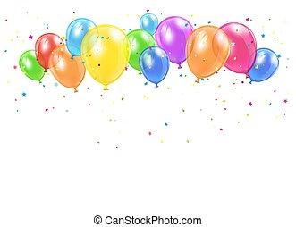 feriado, balões, e, confetti