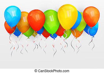feriado, balloons., vetorial, ilustração
