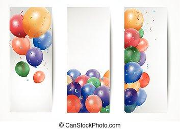 feriado, bandeiras, com, balões