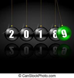 feriado, bolas, espaço, texto, saudação, natal, 2019, cartão, ano, novo, cópia, seu, vazio