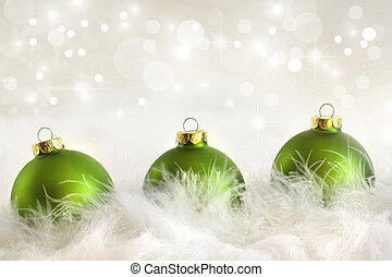 feriado, bolas, verde, natal, fundo