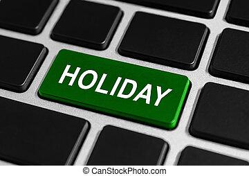 feriado, botão, ligado, teclado