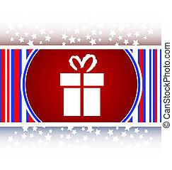 feriado, caixa presente, ícone, teia, botão