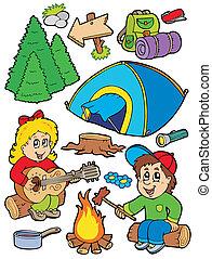 feriado, campamento, colección