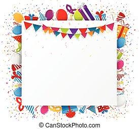 feriado, celebração, com, confetti