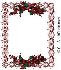 feriado christmas, borda, holly berries