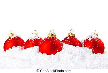 feriado christmas, decoração, com, neve branca, e, vermelho,...