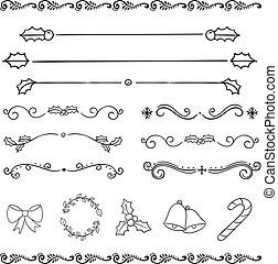 feriado christmas, desenho, desenho, decoração, elemento, ícone, jogo