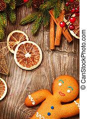feriado christmas, experiência., homem bolo gengibre