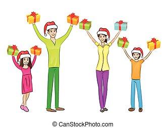 feriado christmas, família feliz, mãos levantadas, braços cima, ter, caixa presente