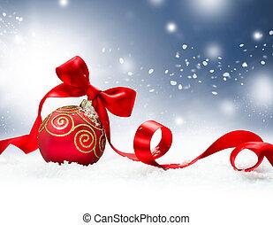 feriado christmas, fundo, com, vermelho, bauble, e, neve