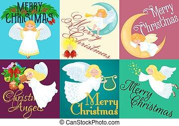 feriado christmas, jogo, de, voando, anjo, com, asas, e, presentes, caixa, ou, estrelas, lua, semelhante, símbolo, em, cristão, religião, ano novo, vetorial, ilustração